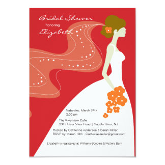 Graceful Bride Bridal Shower Invitation RED