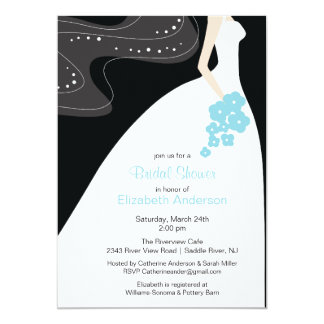 Graceful Bride Bridal Shower Invitation Turquoise