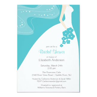 Graceful Bride Bridal Shower Invitation Turquoise