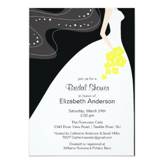 Graceful Bride Bridal Shower Invitation Yellow