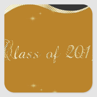 Graceful Curving Background, Stars, Class of 2017 Square Sticker