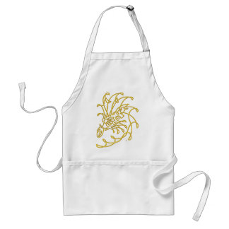 graceful dragon head, gold adult apron
