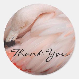 Graceful Flamingo Thank You Classic Round Sticker