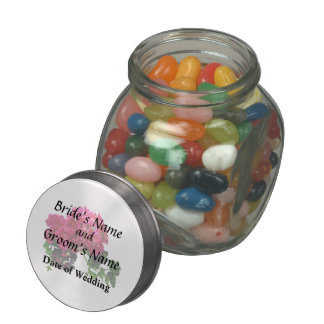 Graceful Geraniums Wedding Products Glass Candy Jar
