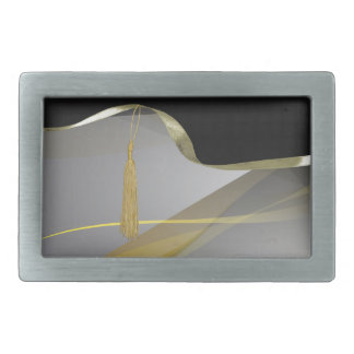 Graceful Gold Abstract Design, Tassel on Ribbon Rectangular Belt Buckle
