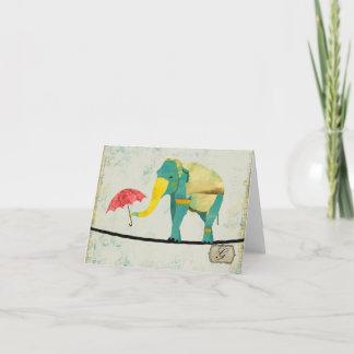 Graceful Gold Elephant Monogram Notecard