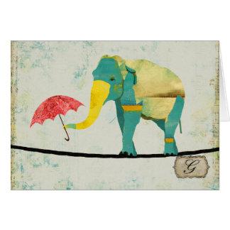 Graceful Gold Elephant Monogram Notecard Card