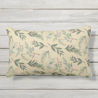 Graceful Green Leaves Khaki Outdoor Lumbar Pillow