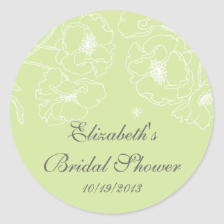 Graceful Green Poppy Floral Bridal Shower Square Classic Round Sticker