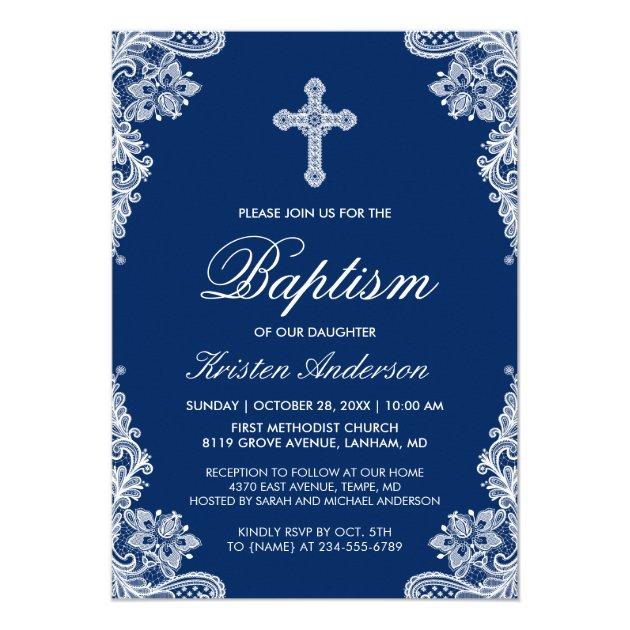 Graceful Navy Blue Lace Cross Baptism Photo Invite