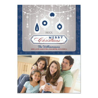 Graceful Ornaments Family Holiday Card (navy)