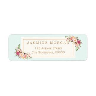 Graceful Pastel Watercolor Floral Decoration Label