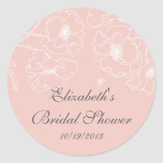 Graceful Pink Poppy Floral Bridal Shower Square Classic Round Sticker