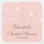 Graceful Pink Poppy Floral Bridal Shower Square Square Sticker