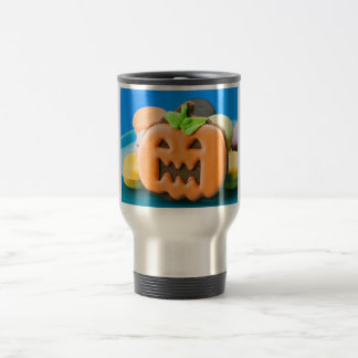 Graceful pumpkin surrounded by colors travel mug
