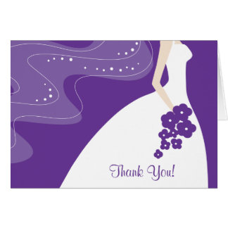 Graceful Purple Bride Thank You Note Card