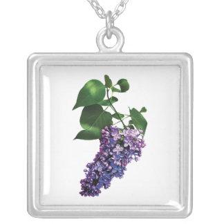 Graceful Purple Lilacs Square Pendant Necklace