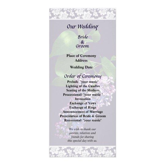 Graceful Purple Lilacs Wedding Program