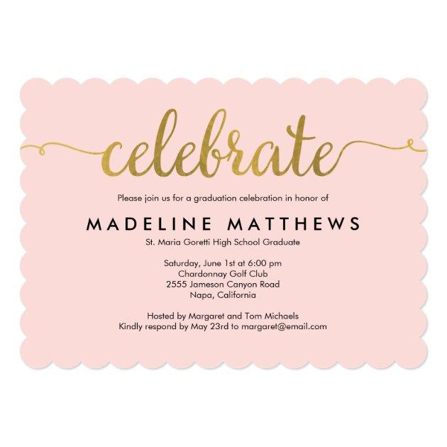 Graceful Script Editable Color Graduation Invite (back side)