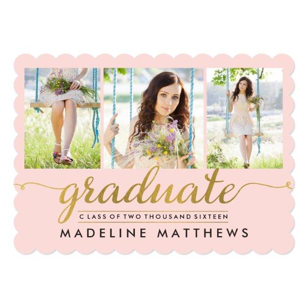 Graceful Script Editable Color Graduation Invite (front side)