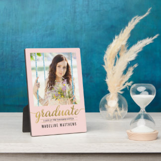 Graceful Script EDITABLE COLOR Graduation Plaque