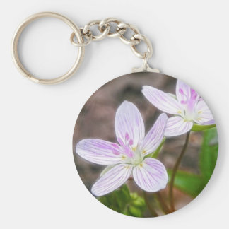 Graceful Spring Beauty Flowers Basic Round Button Keychain