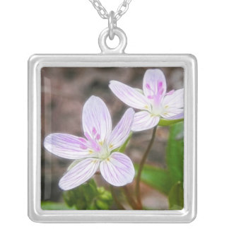 Graceful Spring Beauty Flowers Square Pendant Necklace