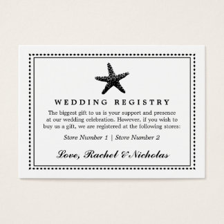 Graceful Starfish Classic Black | Gift Registry Business Card