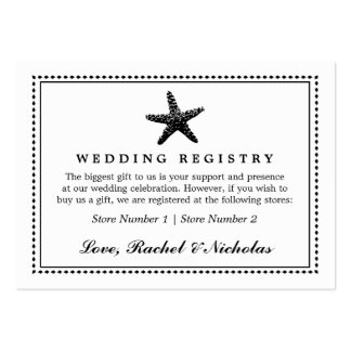 Graceful Starfish Classic Black | Gift Registry Large Business Card