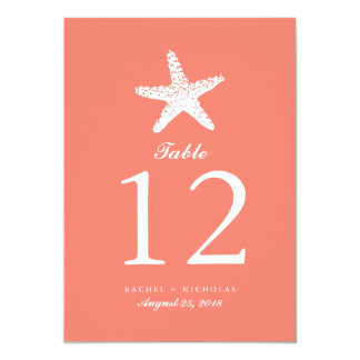 Graceful Starfish | Table Number 5x7 Paper Invitation Card