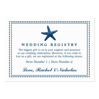 Graceful Starfish | Wedding Gift Registry Business Card Template