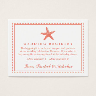 Graceful Starfish | Wedding Gift Registry Business Card