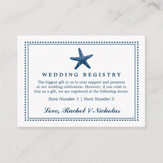 Graceful Starfish Wedding Gift Registry Enclosure Card Zazzle