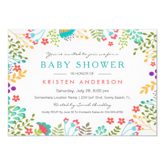 graceful tiffany blue floral cute baby shower card