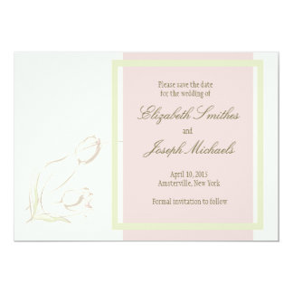 """Graceful Tulips Save The Date Card 5"""" X 7"""" Invitation Card"""