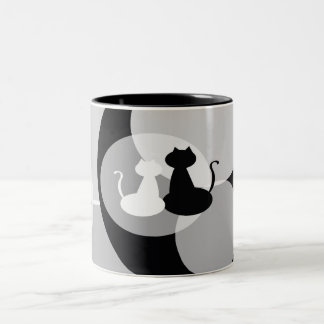 Graceful White and Black Cats Mug