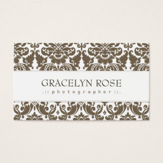 Gracelyn Brown Damask Chic Business Card