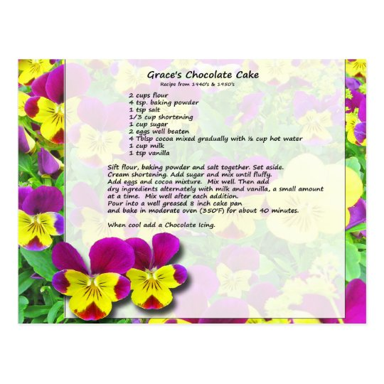 Grace's Chocolate Cake Postcard