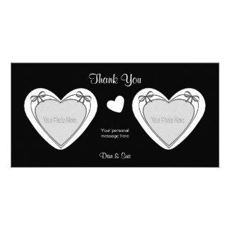 Gracias - 2 fotos - los corazones blancos en negro tarjetas con fotos personalizadas