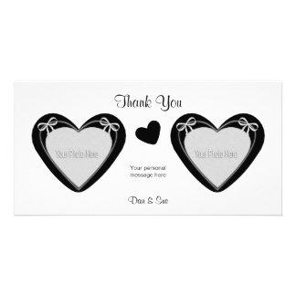 Gracias - 2 fotos - los corazones negros en blanco tarjeta fotografica personalizada