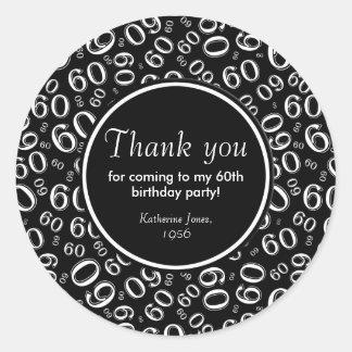 Gracias: 60.a fiesta de cumpleaños blanco y negro pegatina redonda