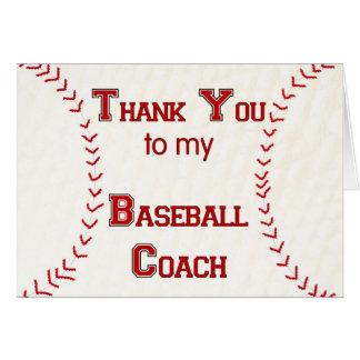 Gracias a mi entrenador de béisbol tarjeta de felicitación