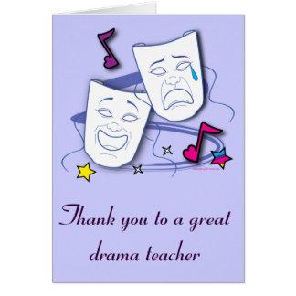 Gracias a mi profesor del drama con las máscaras: tarjeta de felicitación