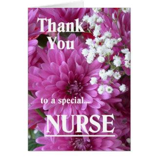 Gracias a un floral Enfermera-Rosado especial Tarjeta De Felicitación