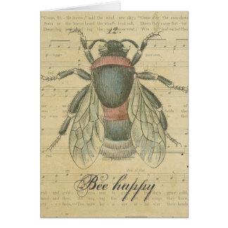 Gracias abeja de las notas de la partitura de la a tarjeta pequeña