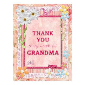 Gracias abuela, tarjeta del arte de las flores tarjetas postales
