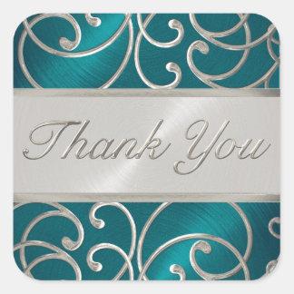 Gracias afiligranado azul y de plata del trullo pegatina cuadrada