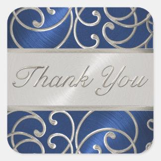 Gracias afiligranado azul y de plata elegante pegatina cuadrada