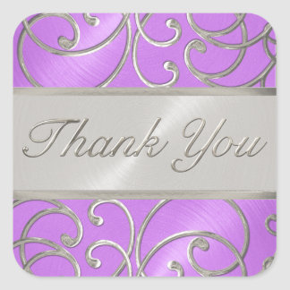 Gracias afiligranado de plata púrpura de la pegatina cuadrada