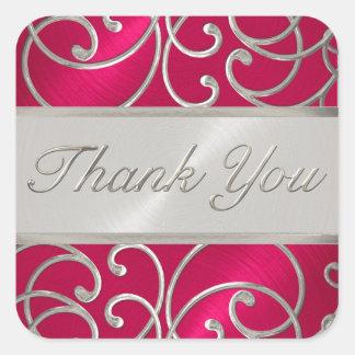 Gracias afiligranado de plata rosado magenta pegatina cuadrada